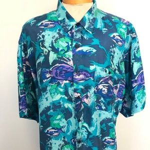 Hilo Hattie Floral Hawaiian Shirt Men XL E4